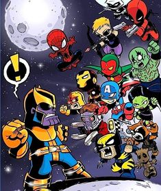 Get the Gauntlet This has been one of my popular pieces of fan art I've done over the years. a bit of chibi style Infinity War action adding in a few extra of my fav comic heroes. Marvel Dc Comics, Marvel Avengers, Rogue Comics, Baby Marvel, Chibi Marvel, Avengers Cartoon, Baby Avengers, Marvel Heroes, Baby Wunder
