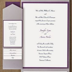 Occasions to Blog: 2015 Wedding Colors - Silver and Purple (Invitation Link - http://occasionsinprint.carlsoncraft.com/Wedding/Wedding-Invitations/2414-FBN25533A-Timeless-Elegance--Layered-Pocket-Invitation.pro)