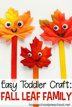 Make a Simple Leaf Craft for Toddlers and Preschoolers - - Are you looking for a simple fall craft to do with your preschoolers? This Fall Leaf Family is a simple leaf craft you can with with tots and preschoolers. Easy Preschool Crafts, Fall Crafts For Toddlers, Fun Craft, Easy Toddler Crafts, Easy Fall Crafts, Autumn Activities For Kids, Daycare Crafts, Thanksgiving Crafts, Craft Stick Crafts
