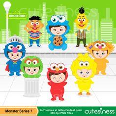 Monster Digital Clipart, Monster Clipart, Monster Clip Art, Sesame Street Clipart, Monsters Photobooth props