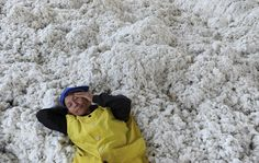 A worker in a cotton factory in Wuhan, China.