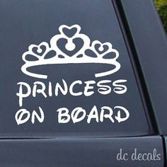 Princess on #board sticker decal car window external #fairy tale tiara #child bab, View more on the LINK: http://www.zeppy.io/product/gb/2/221983201502/