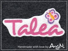 Aufnäher Wunschname Schmetterling in vielen Farben von AnCaNi auf DaWanda.com