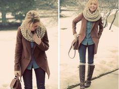 winter outfit, denim on denim, chunky scarf, camel coat, boots, skinny jeans, chambray shirt