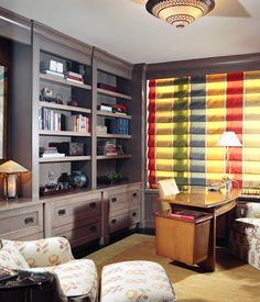 Lake Shore Drive Condo Library::Deb Reinhart Interior Design Group:: built in shelves, library, office, striped shade