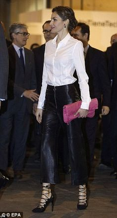 Letizia also wore the distinctive trousers, made from Napa leather, back in February at an art fair in Madrid