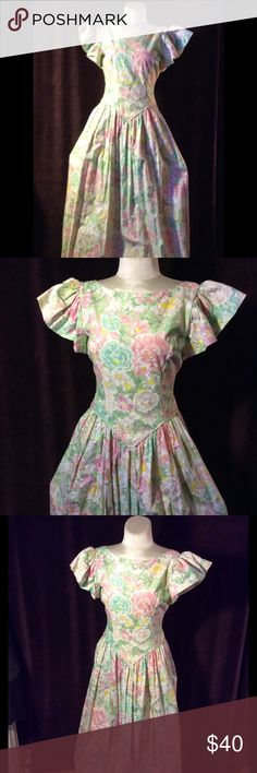 Fabulous flowered gown Garden party gown beautiful array of flowers in pink and green on a fitted waist adorable cape sleeves and a full full skirt 51 inches long Vintage Dresses Maxi