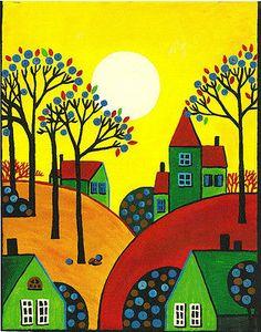 Art cards, Editions y Originales de impresión de la pintura Ryta Abstracto Árboles de arte popular casas de aves rústico Primavera