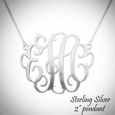 "SOPHIA Necklace - Monogrammed XL 2"" Pendant - Sterling Silver - Miss Lucy's Monograms"