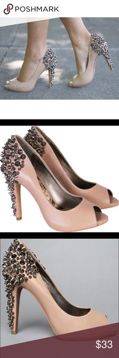 Sam Edelman Lorissa Spiked Pump - Nude - size 7.5 Only worn once!! Killer heels!! Sam Edelman peep-toe pumps, heavily embellished with pyramid studs and rhinestones, in nude leather. Awesome condition. The leather on the inside is peeling a little but you can't see it at all when you are wearing them (see photo). Super hot heel! Sam Edelman Shoes Heels