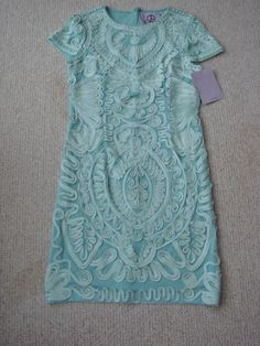 NWT JS COLLECTION 10 (8) Aqua/Mint Green Soutache Mesh Dress $219 #JSCollections #Sheath #Formal