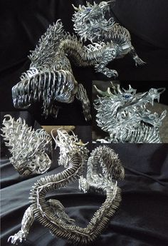 Pop-Tab Dragon. This makes me think of our Caribbean Cruise. There was a homeless man making all sorts of things out of pop tabs and wire, and selling them.
