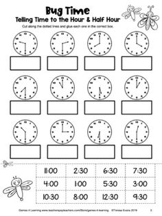 Free Telling Time Worksheet for to the Hour and Half Hour Cut and Paste Clock Worksheets, 1st Grade Math Worksheets, Free Printable Worksheets, Worksheets For Kids, Cut And Paste Worksheets, Multiplication Worksheets, Telling Time Games, Telling Time Activities, Teaching Time