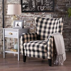 Noble House Black and White Plaid Fabric Club Chair 12459 - The Home Depot Decor, Furniture, Home Living Room, Farm House Living Room, Noble House, Home Decor, Plaid Living Room, Plaid Chair, Living Decor