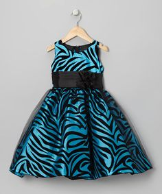 Take a look at this Turquoise Zebra Dress - Infant, Toddler & Girls by Kid Fashion on #zulily today!