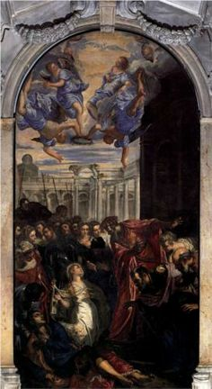 The Miracle of St Agnes - Tintoretto.  c.1577.  Oil on canvas.  400 x 200 cm.  Madonna dell'Orto, Venice, Italy.
