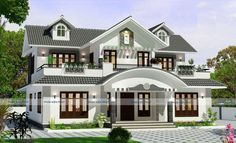 2943 Sqft 4 Bedroom Luxury Villa design – Homeinner – Free House plan,Home Design Collection Indian House Exterior Design, Indian Home Design, Kerala House Design, Unique House Design, Cool House Designs, House Outside Design, House Gate Design, Duplex House Design, House Front Design