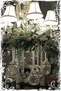 great idea for the dining room chandelier...love sparkles... :)