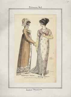 1807 (Feb.) Ladies' Museum, morning dress (left) and full dress (right)