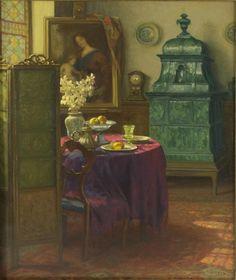 ✨ Karl Maria Schuster, Austrian (1871-1953) - Biedermeierliches Interieur mit grünem Kachelofen. Sign. und 1933 dat, Öl/Lwd. 60,5 x 50,5 cm