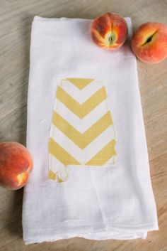 State of Alabama Tea Towel Yellow Chevron by MagnoliaBelleDesigns, $15.00