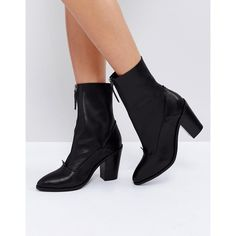 ASOS EMPEROR Leather Zip Boots (109 AUD) ❤ liked on Polyvore featuring shoes, boots, ankle booties, black, leather high heel boots, black leather ankle booties, pointed toe booties, leather booties and high heel booties