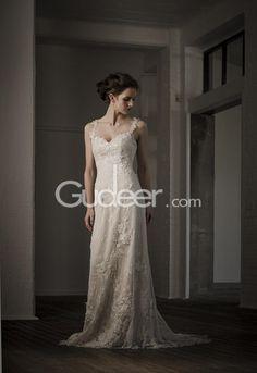 Wonderful Trumpet Spaghetti Straps Lace Wedding Dress