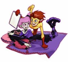 Jinx and Kid Flash. End of story. (I bet Jinx was drawing another unicorn :3)