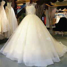 Ball Gown Wedding Dress-Ivory Chapel Train Scoop Tulle 2016 - $199.99