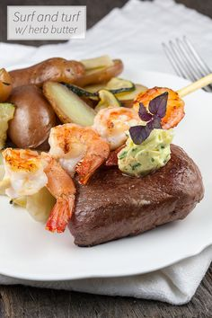 You've probably seen it before on a restaurant's menu. Surf and turf with herb butter; beef and shrimps or use lobster for an even more fancy recipe.
