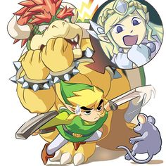 Link, Zelda, and Bowser? Oh, and a rat. this is spirit tracks and zelda freaked on a mouse everytime she saw one Super Smash Bros Brawl, Super Mario Bros, Link Zelda, Nintendo World, Nintendo Characters, Cartoon Crossovers, Video Game Art, Fire Emblem, Legend Of Zelda