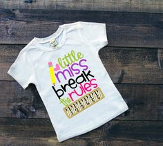 Little Miss Break The Rules Girl's Back To School Shirt School Shirt Girls Clothes First Day Of School Shirt Youth Personalized School Tee by SimplySweetJBoutique on Etsy