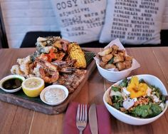 #Bali How about this Fisherman seafood platter (260k) for dinner at @watercressbali? A full set of BBQ mahi-mahi grilled king prawn & crumbed calamari coriander pesto & tartar sauce served with tempura vegetables BBQ sweet corn charred lemon & fresh house salad would make a great dinner for two just pick the best wine then it'll all be perfect!