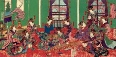 """""""Palazzo del vaso d'oro"""", e i lussuosi ambienti della casa a luci rosse. utagawa yoshitora"""