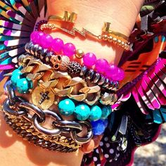@hairandnailfashion- #webstagram #bracelets #colorful #pink #blue #chains #silver #gold #jewelry