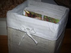 Burlap Storage Box For Next to Nothing! Perfect for the sturdy Egg Box I have... I need a few more