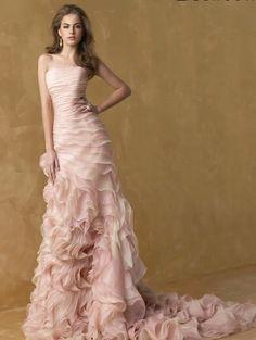 Romantic Pink Strapless A-line Ruffles Long Wedding Dress 2013