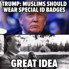 """Yes, #DonaldTrump REALLY just went full NAZI. READ ALL ABOUT IT >> http://countercurrentnews.com/2015/11/donald-trump-says-muslims-should-be-forced-to-wear-special-id-badges/# "" -Counter Current News"