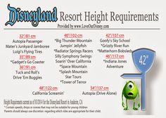 Disneyland Height Requirements Printable