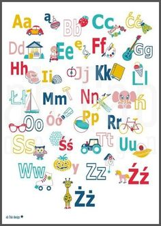 dizajnerski alfabet polski - Google Search Montessori Activities, Toddler Activities, Learning Letters, Kids Learning, Polish Alphabet, Teaching Materials, Letter Writing, Free Printables, Diy And Crafts