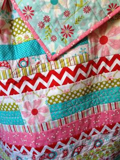 SALE 85.00 Aqua Red and Pink Daisy Chain was by TinyTrendsQuilts