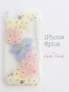 p⑥春風リボンの押し花iPhoneケース