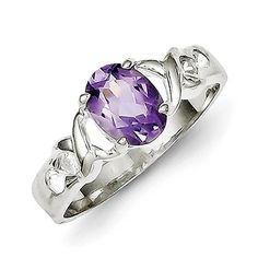 Sterling Silver Amethyst and CZ Ring - Size 7 -- Read more reviews of the product by visiting the link on the image.