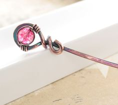 Copper hair pin or shawl pin stick with fuchsia by IngoDesign, $18.00