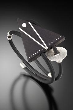 Silver Inlaid Ebony Triangle Bracelet_Suzannae Linquist