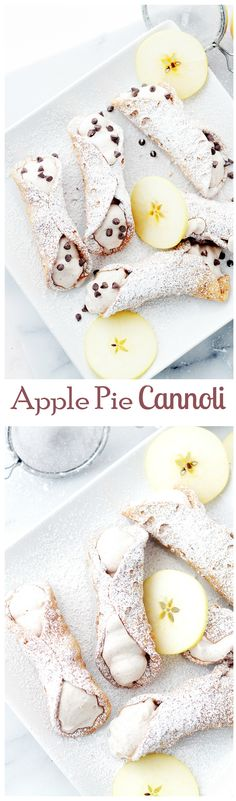Apple Pie Cannoli - crispy Cannoli Shells filled with a decadent Apple Pie Ricotta Cream : diethood Just Desserts, Delicious Desserts, Yummy Food, Apple Desserts, Apple Recipes, Sweet Recipes, Dessert Drinks, Dessert Recipes, Yummy Treats