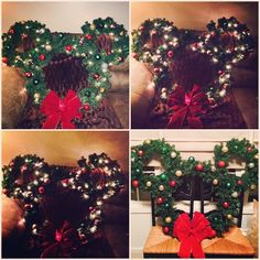 HUGE Mickey Mouse Christmas wreath I made for p outside! Beautiful when lit. #christmas2014
