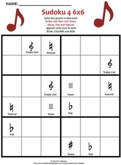 Music Themed SUDOKU Puzzles 6 x 6 . A fun and educational addition to your music classroom resources.