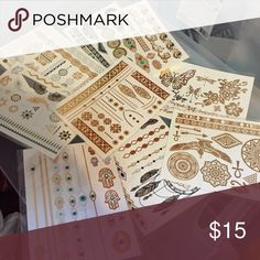 Various flash tattoos (9 pieces) New no tags. No brand. No trades. Great for raves/music festivals/summer. 6 by 4 inches Brandy Melville Accessories