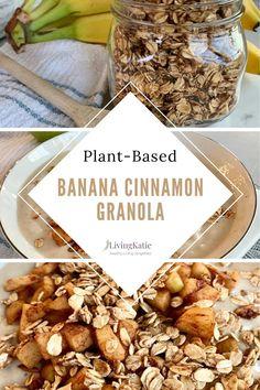 This Plant-Based Banana Cinnamon Granola is the perfect healthy and delicious breakfast or snack. Vegan Baked Oatmeal, Vegan Oatmeal Cookies, Vegan Overnight Oats, Baked Oatmeal Recipes, Homemade Breakfast, Vegan Breakfast Recipes, Vegan Recipes Easy, Vegan Burrito Bowls, Banana Cinnamon